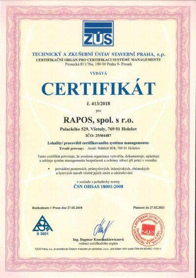 [:cs]Certifikát 18001 CZ-1[:]